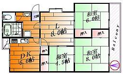 千里山田A団地A7棟[4階]の間取り