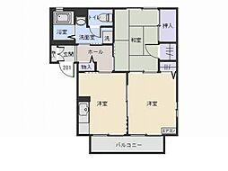 宮城県仙台市若林区今泉2丁目の賃貸アパートの間取り