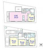 A区画 建物参考プラン:間取り/4LDK、延床面積/108.41m2、建物参考価格/1680万円(税込)