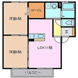 三重県鈴鹿市江島本町の賃貸アパートの間取り