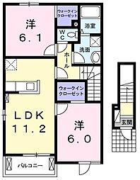 大阪府高槻市永楽町の賃貸アパートの間取り