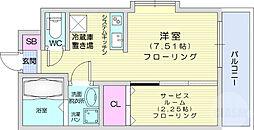 仙台市営南北線 台原駅 徒歩17分の賃貸マンション 2階1DKの間取り