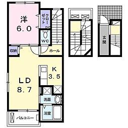 プリムローズ壱番館[3階]の間取り