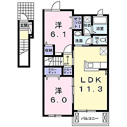 徳島県板野郡藍住町徳命字新居須の賃貸アパートの間取り