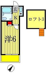 千葉県松戸市常盤平西窪町の賃貸アパートの間取り