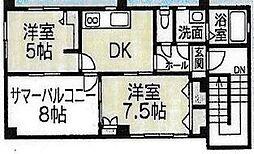 伊豆箱根鉄道駿豆線 修善寺駅 徒歩12分の賃貸マンション 2階4DKの間取り