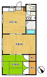 シャトーテル中央[2階]の間取り