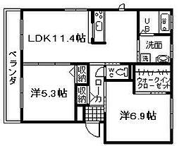 シャーメゾンかざぐるまA棟[2階]の間取り
