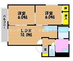 岡山県岡山市中区湊の賃貸アパートの間取り