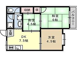 ホワイトハイツB棟[2階]の間取り