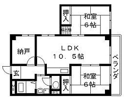 岡島ラインハウス[405号室号室]の間取り