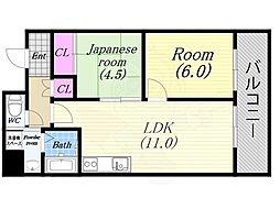 第20柴田ビル 2階2LDKの間取り