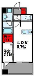 JR鹿児島本線 千早駅 徒歩4分の賃貸マンション 12階1LDKの間取り