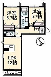 香川県高松市三名町の賃貸マンションの間取り