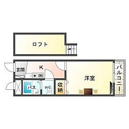 大阪府大阪市生野区田島3丁目の賃貸アパートの間取り