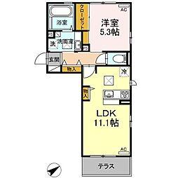 山口県下関市長府松小田中町の賃貸アパートの間取り