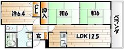 小倉スカイマンション天神島[505号室]の間取り