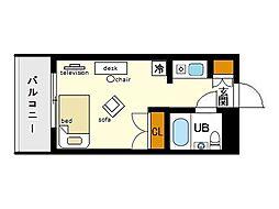 家具・家電付きメゾン・ド・天神[5階]の間取り