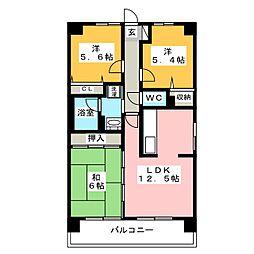 ライオンズマンション二日市第2[6階]の間取り