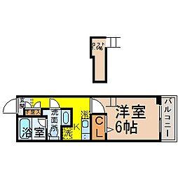 愛知県名古屋市中村区黄金通3丁目の賃貸アパートの間取り