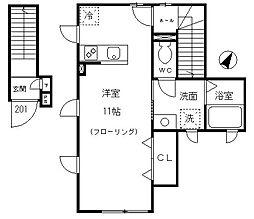 東京メトロ千代田線 乃木坂駅 徒歩11分の賃貸マンション 2階ワンルームの間取り
