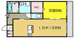 兵庫県姫路市南畝町2丁目の賃貸アパートの間取り