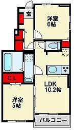 ネオグリーンレジデンス A棟 1階2LDKの間取り