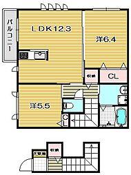 大阪府茨木市高田町の賃貸アパートの間取り