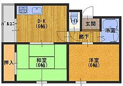 エクセレント舟田1[3階]の間取り
