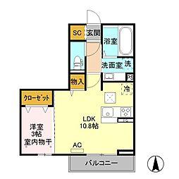 JR中央本線 岡谷駅 バス16分 今井西下車 徒歩6分の賃貸アパート 1階1LDKの間取り