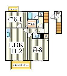 千葉県柏市花野井の賃貸アパートの間取り