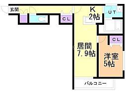 エピカリス上江別 3階1DKの間取り