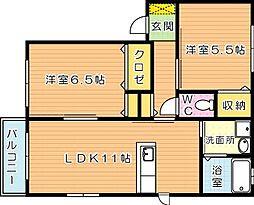 リバプール A棟[1階]の間取り
