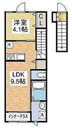 福岡県遠賀郡水巻町猪熊6丁目の賃貸アパートの間取り