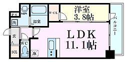 Osaka Metro中央線 阿波座駅 徒歩7分の賃貸マンション 2階1LDKの間取り