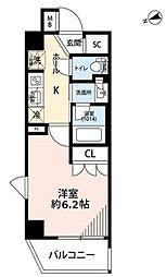 プレール・ドゥーク品川南大井 6階1Kの間取り
