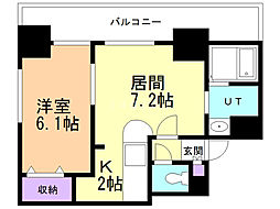 サンコート表参道 7階1DKの間取り