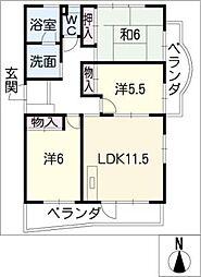 桃山コンディミニアム[4階]の間取り