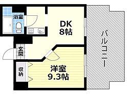 Osaka Metro四つ橋線 肥後橋駅 徒歩5分の賃貸マンション 9階1DKの間取り