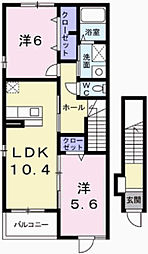 プラシードI 2階2LDKの間取り