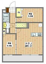 サンモール秀栄[3階]の間取り