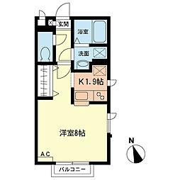 小田急小田原線 本厚木駅 バス13分 東京工芸大学下車 徒歩2分の賃貸アパート 1階1Kの間取り