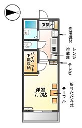 愛知県名古屋市熱田区中出町1丁目の賃貸アパートの間取り
