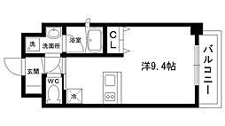 ブランTAT西宮甲子園口II 7階ワンルームの間取り