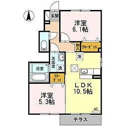 ポワールA棟[1階]の間取り