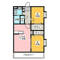 ブルースタービュー[2階]の間取り