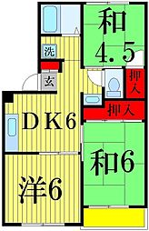 東京都足立区加平1丁目の賃貸アパートの間取り