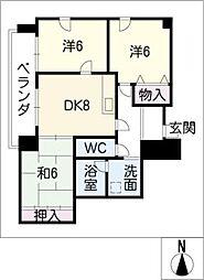 愛知県名古屋市中川区打出1丁目の賃貸マンションの間取り