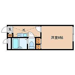 奈良県大和郡山市車町の賃貸アパートの間取り
