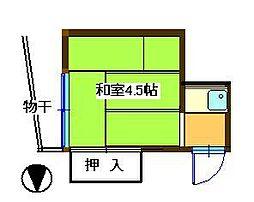 JR埼京線 板橋駅 徒歩3分の賃貸アパート 2階ワンルームの間取り